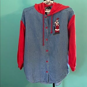 Looney Tunes Xmas Hoodie Denim Button Down Top